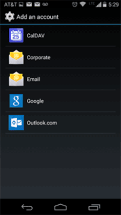 Android ActiveSync Add Account