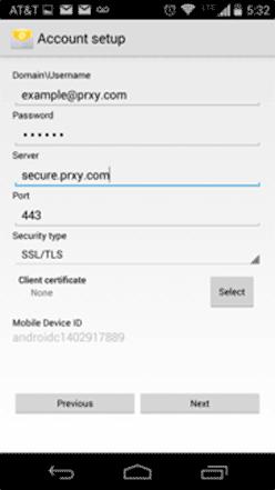 Android ActiveSync Server Setup